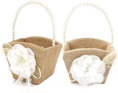 Awtlife 2PCS Burlap Flower Girl Basket Pearl Handle for Vintage Rustic Wedding Ceremony