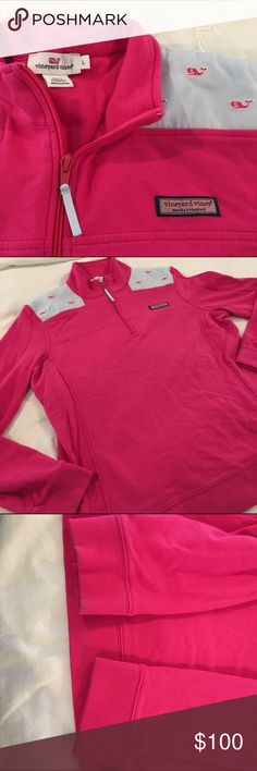 VV Shep fuchsia and chambray w/embroidered whales Bright fuchsia/dark pink Shep shirt in EUC with blue Oxford cloth embroidered with the Vineyard Vine branded whale. Women's large quarter zip w/ VV grosgrain ribbon zipper pull. Comes with a VV sticker. Vineyard Vines Tops Sweatshirts & Hoodies