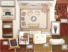 interior design board- note furniture arrangement for your living room