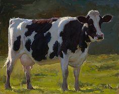 Spring Light, Holstein cow painting by carol peek  Oil ~ 8 x 10