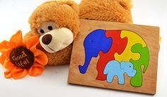 Wooden puzzle Wooden elephants Wooden animal gift Educational