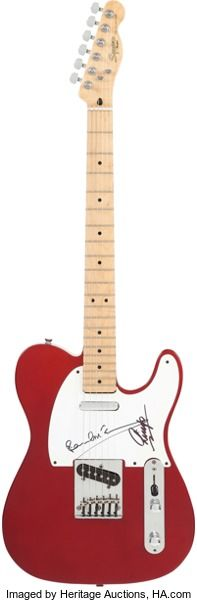 Beatles - Paul McCartney and Ringo Starr Signed 1989-90 Fender Squier Candy Apple Red Telecaster. A 1989-90 Candy Apple Red Squier Telecaster, signed on the pickguard by both Sir Paul McCartney and Ringo Starr, in black marker. The guitar has been played and is missing the rear screw to the chrome knob plate, and the jack plate and its screws are also missing. There are just a few nicks, dings, and small scratches on the body and neck. COA from Heritage Auctions.