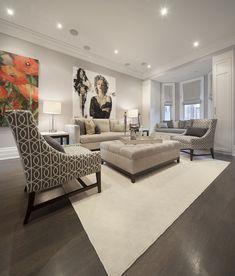 Ruby Photo Studio - living rooms - long living room, pale gray walls, marilyn monroe art, art over sofa, art above sofa, light beige sofa, m...