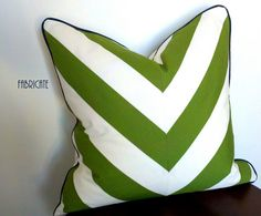 20 Wide Stripe Chevron Green with Navy WeltPillow by thfabricate, $40.00