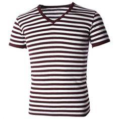 FLATSEVEN メンズ カジュアル ワイド ストライプ v ネック半袖 t シャツ (TV1002) - トップス & t シャツ