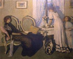 "ca. 1900's - ""Lamplight"" by Emanuel Phillips Fox (1865–1915) .  Australian Impressionist painter."