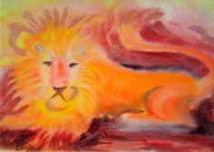 Waldorf ~ 4th grade ~ Human & Animal ~ Lion ~ watercolor painting