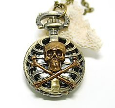 Steampunk Necklace Skull Locket Working Compass by DesignsBloom,