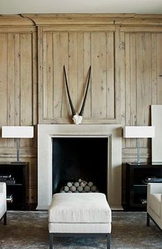: : Havens South Designs :: loves this contemporary fireplace on a more traditional wood panelled wall Betsy Brown