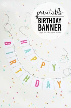Pump up the party with this FREE printable birthday banner from The Crafted Sparrow.  So easy to make. Just get the Avery Party Banner (80507), run through your printer, pull apart the cards and loop ribbon through the prepunched holes.  So simple, so fun!
