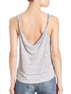 rag & bone/JEAN Striped Canyon Knot Tank - White Striped - Size