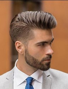 Rock and roll age came and the pompadour style was flared again and is still dazzling. Check out these Macho Pompadour Hairstyles for Men to try this year. Mens Hairstyles Pompadour, Mens Hairstyles With Beard, Cool Hairstyles For Men, Beard Styles For Men, Hair And Beard Styles, Short Hair Styles, Pompadour Style, Pompadour Men, Hipster Haircuts For Men