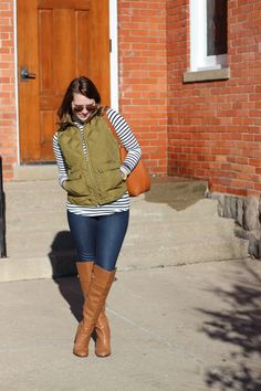 J.Crew Excursion Quilted Down Vest in Irish Moss, Louise Et Cie Over The Knee Boots