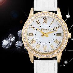 Fashion Women Analog Synthetic Leather Watchband Rhinestone Decoration Quartz Casual Watch Wristwatch