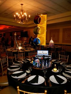 A Times Square themed centerpiece with Times Square images and an authentic, illuminated traffic light.