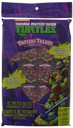 Ninja Turtles Tattoo Treats - Valentine Cards - 20 Boxes with 5 Tattoos each - Leonardo Donatello Michelangelo Raphael ** You can find out more details at the link of the image.
