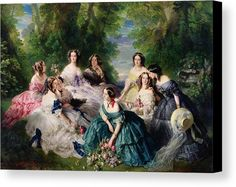 Empress Eugenie Surrounded By Her Ladies In Waiting Canvas Print by Franz Xaver Winterhalter.  All canvas prints are professionally printed, assembled, and shipped within 3 - 4 business days and delivered ready-to-hang on your wall. Choose from multiple print sizes, border colors, and canvas materials.