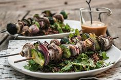 Brussels Sprouts And Mushroom Skewers With Miso Sauce from Dishing Up The Dirt