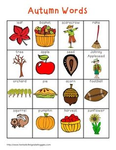 Fall and Autumn Words Writing Center Tools- Fall/Autumn Words Kids English, English Words, English Lessons, Learn English, Improve English, Autumn Activities, Learning Activities, Kids Learning, Learning Spanish