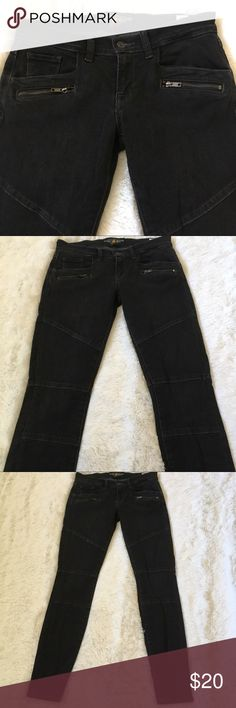 """Lucky Brand Charlie Skinny moto jeans Dark Charlie Skinny moto-style skinny jeans from Lucky Brand. Label says 4/27R. Inseam: 29"""". Waist: just under 15"""". They're 98% cotton, 2% spandex so they have a nice, comfortable stretch to them. Lucky Brand Jeans Skinny"""