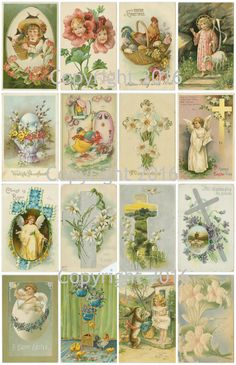 """Printed Vintage Victorian Easter Card Images Collage Sheet 8.5 x 11"""" For Decoupage, Altered Art, Scrapbooking etc. Ready to use for any project, scrapbooking, crafts, jewelry etc. Professionally print"""