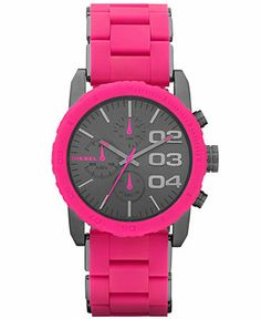 Diesel Watch, Women's Chronograph Pink Silicone-Wrapped Gunmetal Ion-Plated Stainless Steel Bracelet 42mm DZ5362