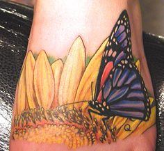 wildlife tattoos | ... Tattoos : Tattoos : Nature Animal Wildlife : Butterfly, and sunflower