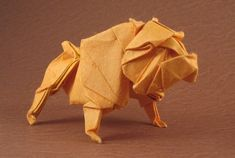 Bulldog by Quentin Trollip Diagrams in Origami USA 2008 convention book Wet-folded from a square of double-sided mulberry paper Origami Usa, Origami Bowl, Origami Star Box, Origami And Kirigami, Origami Paper Art, Oragami, Origami Love Heart, Origami Patterns, Origami Models
