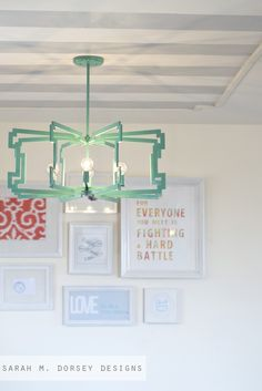 DIY light to make for dining room sarah m. dorsey designs: From Fluorescent Diffuser to Statement Pendant Diy Light Fixtures, Dining Room Light Fixtures, Dining Room Lighting, Office Lighting, Unique Lighting, Bedroom Lighting, Light Fittings, Lighting Ideas, Lighting Design