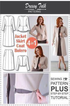New Look Damas patrón de costura 6130 Peplum Tops pantalones y cinturón ... Falda