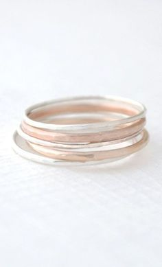 Mixed Stacked Rings - hammered stacking rings