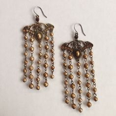 """Vintage chandelier earrings Bronze colors. Origin unknown, purchased at estate sale in LA. Very pretty in person! No defects. About 2"""" long Jewelry Earrings"""