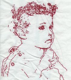 Portrait in redwork embroidery