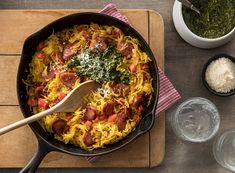 Weeknight dinners just got easier with this recipe for roasted spaghetti squash tossed in a skillet of smoked sausage, bell pepper, onion, and pesto. Get the recipe today! Sausage And Spaghetti Squash, Spaghetti Squash Recipes, Dinner Dishes, Dinner Recipes, Main Dishes, Hillshire Farms Sausage, Parmesan Roasted Potatoes, Garlic Parmesan, Smoked Sausage Recipes