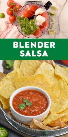 This easy 10 minute Blender Salsa is just like what you get at your favorite restaurant! Best Appetizers, Appetizer Recipes, Snack Recipes, Healthy Recipes, Easy Snacks, Easy Meals, Brunch Recipes, Dinner Recipes, Blender Salsa