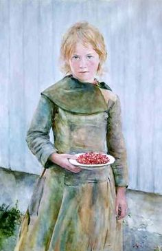 "Hans Olaf Heyerdahl (1857 - 1913) was a Norwegian Realist painter ~ ""Strawberry Girl"""