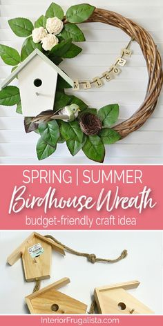 Spring or Summer Birdhouse Wreath with Farmhouse style, a budget-friendly craft idea with thrift store and dollar finds by Interior Frugalista #farmhousewreath #springcraft #summercraft #frontdoorwreath #birdhousewreath