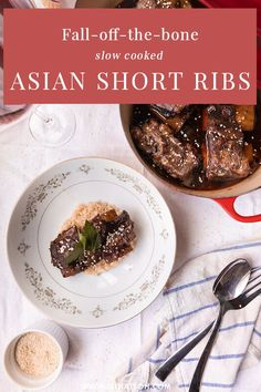 An amazing Asian food recipe: fall-off-the-bone slow cooked asian short ribs. This recipe will teach you how to make your own Asian style beef short ribs in the Le Creuset. Dinner Party Recipes, Beef Recipes For Dinner, Ground Beef Recipes, Asian Recipes, Easy Recipes, Healthy Recipes, Balinese Recipe, Best Comfort Food, Recipe Inspiration