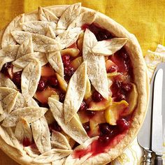Apple cranberry pie with pie crust leaves