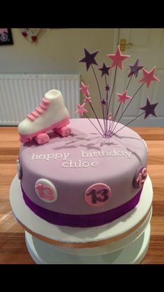 Purple pink girls roller skate topper cake
