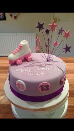 Purple pink girls roller skate topper cake