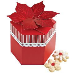 Poinsettia Cookie Box