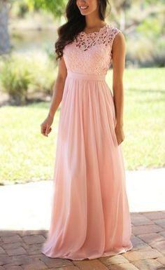 2016 Custom long chiffon Bridesmaid Dress,Sleeveless Bridesmaid Dress ,Pink…