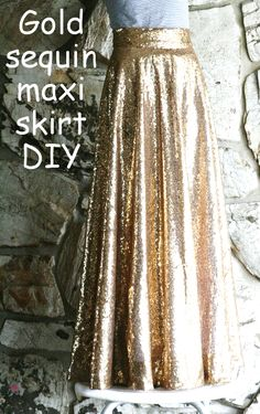 DIY: Gold sequin circle maxi skirt
