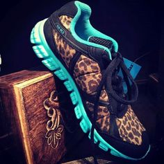 Running Wild Leopard and Turquoise Athletic Shoes $64.95 WWW.GUGONLINE.COM