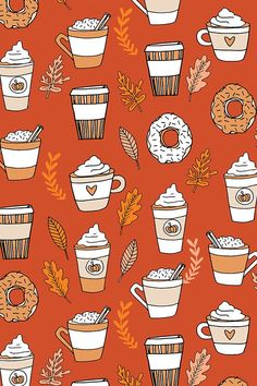 pumpkin spice latte design by andrea_lauren - Hand illustrated pumpkin space lattes and donuts on fabric wallpaper and gift wrap in fall colors. Orange browns peach and cream autumn coffee pattern.