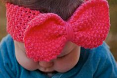 BABY KNIT HEADBAND  Little Girl with Big Bow Knitted Head Band Earwarmer, Bright Coral Knit Headband, Baby Girl Bow Headband