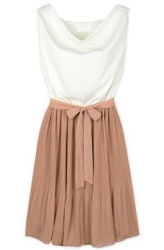 White Khaki Sleeveless Belt Pleated Dress