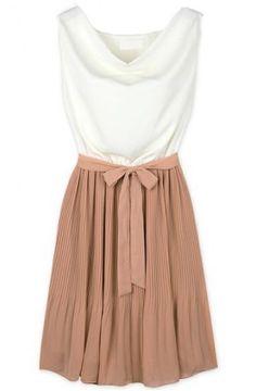 White Khaki Sleeveless Belt Pleated Dress - Sheinside.com Mobile Site