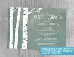 Country Birch Tree Bridal Shower Invitations